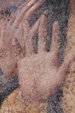 Close up view of detail of drawn hand, artwork on canvas stock image