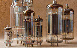 Close up view of different vintage electronic vacuum tubes. Stock Photos