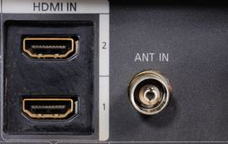 Close-up view on a digital video recorder on the part connectors. Video audio input. Stock Photos