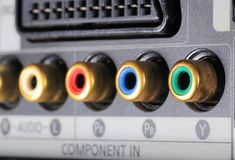 Close-up view on a digital video recorder on the part connectors. Video audio input. Stock Photography