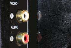 Close-up view on a digital video recorder on the part connectors. Video audio input. Royalty Free Stock Photo