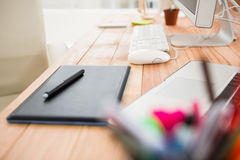 Close up view of digitizer on creative working desk Royalty Free Stock Images