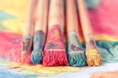 Close-up view of dirty paint brushes Royalty Free Stock Photography