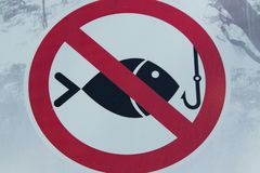 `Don`t Fishing` sign, close up. Close up view of `Don`t Fishing` sign stock photography