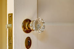 Close up view of door handle with keyhole in old house Stock Image
