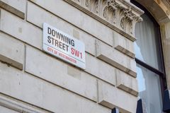 Downing Street Sign, the British Prime Minister Residence in The City of Westminster, London. Close-up view of the Downing Street Sign in The City of Westminster stock photos