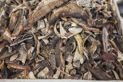 Close up view of dried mushrooms boletus in basket, food background Stock Photo
