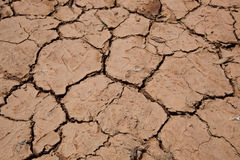 Close-up view of dry cracked soil Royalty Free Stock Photos