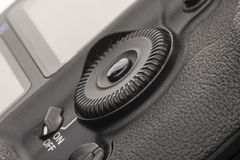 Close up view of a DSLR camera grip in dark atmosphere stock images