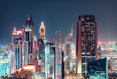 Close-up view of Dubai skyscrapers. Nighttime skyline. Stock Photo