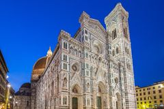 Close up view of Duomo of Florence at night in Tuscany, Italy royalty free stock photo