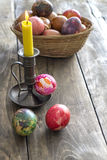 Close up view  on Easter eggs and  candle Stock Photography