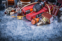Close up view of electric devices vintage electricity concept Royalty Free Stock Image