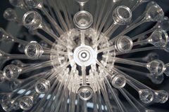 Close-up view of an electric lamp with radial glass shape, drops and lines Stock Image