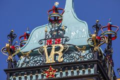 Eastgate Clock in Chester. A close-up view of the elegant detailing on the Eastgate Clock in the historic city of Chester in Cheshire, UK stock images