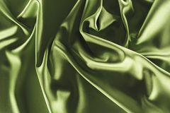 close up view of elegant green silk cloth stock photo