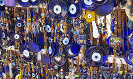 Close up view of evil eye souvenirs. Turkey Stock Photo