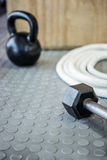Close up view of excercise equipment on the floor Royalty Free Stock Photos
