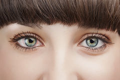 Close up view of the eyes of a young woman. As she looks at the camera. Horizontal shot Stock Photo