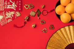 close-up view of fan greeting cards with calligraphy oriental decorations and mandarins royalty free stock image