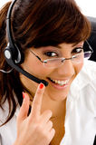 Close up view of female customer care Stock Photo