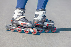 Close-up view of female legs in roller blades Royalty Free Stock Photo