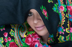 Close-up view of female portrait wearing scarf Royalty Free Stock Image