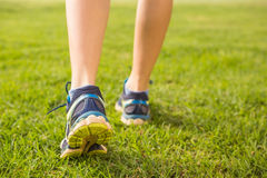 Close up view of female runners feet Stock Photos