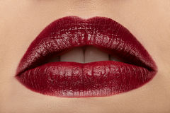 Close-up view of female wearing red lipstick Royalty Free Stock Images