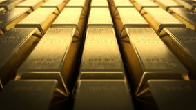 Close-up view of fine gold bars