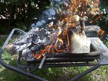 Preparing fire for a BBQ Stock Image