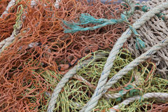 Close-up view of fishing rope and nets Stock Photo