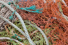 Close-up view of fishing rope and nets Royalty Free Stock Photos