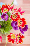Close up view of flowers. On wooden desk Royalty Free Stock Photography