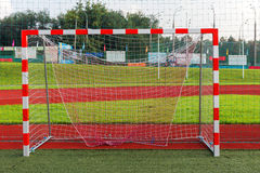 Close up view on football gate Royalty Free Stock Photos