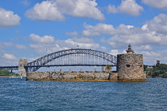 Close Up view of Fort Denison with Sydney Harbour Bridge in the background Royalty Free Stock Image