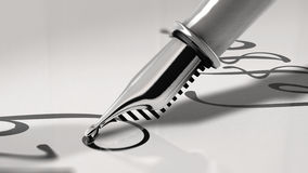 Close up view of a fountain pen writing cursive letter Royalty Free Stock Photo