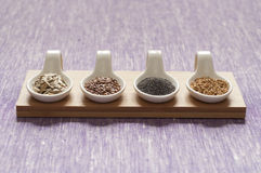 Close-up view of four different variety of Organic Seeds Stock Image