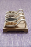 Close-up view of four different variety of Organic Seeds Royalty Free Stock Image