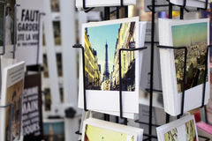 Close up view of French postcards stock image