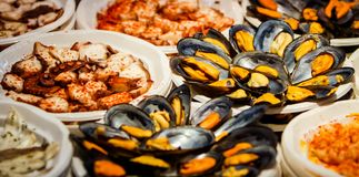 Fresh seafood on Fish Market in Madrid, Spain Stock Photo
