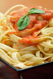 A Close Up View Of Fresh  With Spa Sauce And Basil. A Close Up View Of Fresh Fettuccine With Spaghetti Sauce And Basil Leaf Royalty Free Stock Images