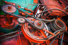 Close up view on gear mechanism of old combine harvester Royalty Free Stock Images