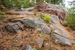 Close up view of geological structures at Killarney Provincial Park Royalty Free Stock Photo