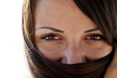 Close-up view at girl's eyes Stock Photo