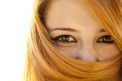 Close-up view at girl's eyes Stock Images