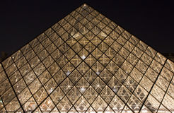 Close up view of glass pyramid stock photo