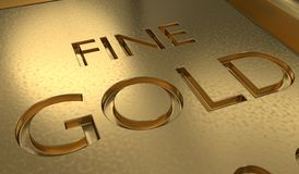 Close up view on gold bar. 3D rendered illustration.  Royalty Free Stock Photography