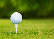 Close up view of golf ball on tee. On golf course Stock Photos