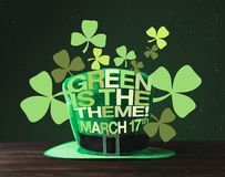 Close up view of green hat on wooden surface and green is the theme. March 17 lettering vector illustration